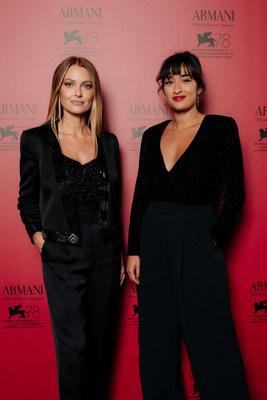 Caroline Receveur and Shirine Boutella at the Armani beauty dinner